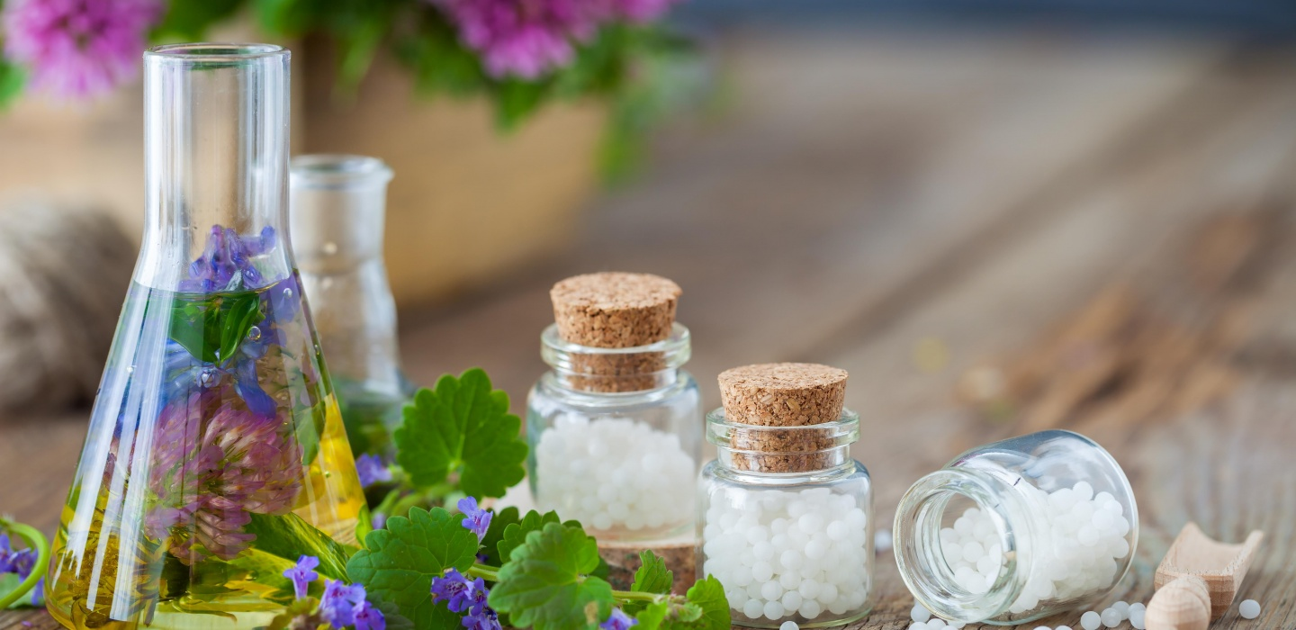 Jars containing homeopathic medicines to treat a range of homeopathy conditions